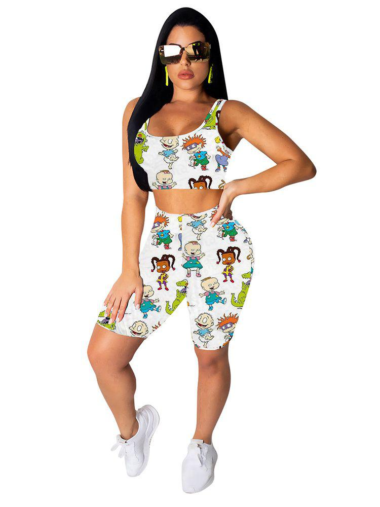 Jurllyshe Fashion Cartoon Printing Tank Vest Crop Top With Shorts Set