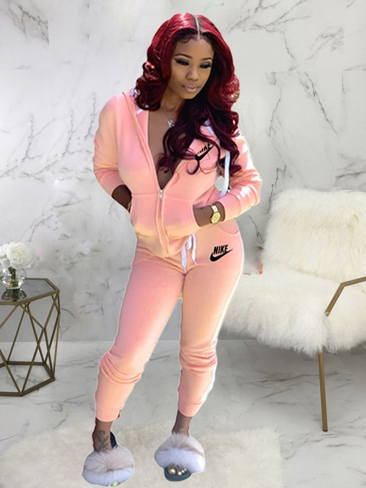 Jurllyshe Letter Embroidered Hoodies With Sports Casual Drawstring Pockets Pants Set