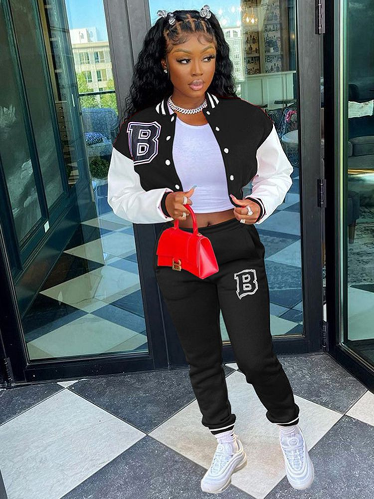 Jurllyshe Letter Print Contrast Color Button Baseball Jacket With Casual Solid Pants Set