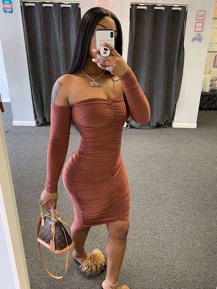 Jurllyshe Pleated Off The Shoulder Bardot Solid Tight Bodycon Dress