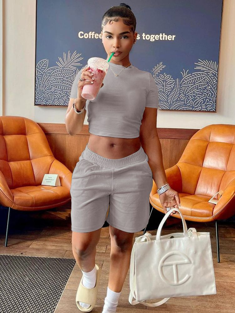 Jurllyshe Short Sleeve Round Neck Solid Color Crop Top With Leisure Sports Shorts Set