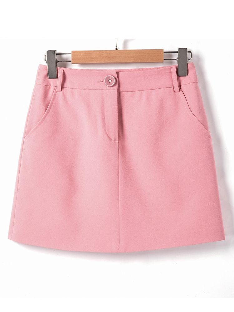JurllyShe Basic Single Button Solid Mini Skirt