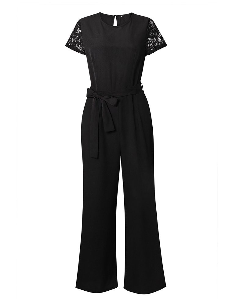JurllyShe Lace Sleeve Tie Waist Backless Jumpsuit