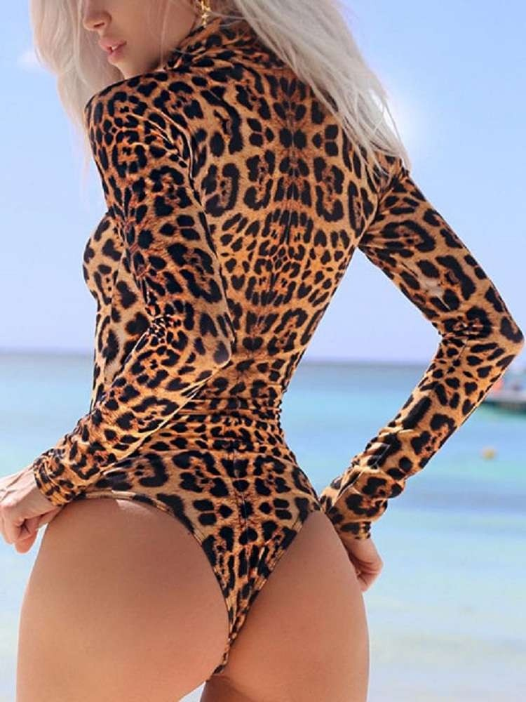 JurllyShe Cheetah Print High Neck Zip Up Bodysuit