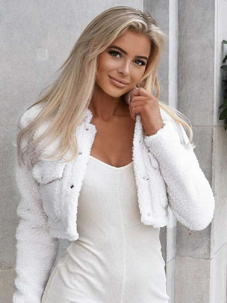 JurllyShe Button Up Crop Teddy Jacket