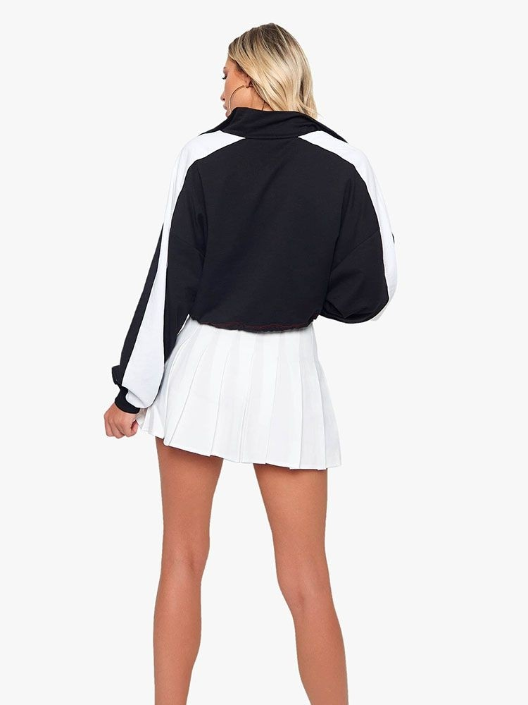 JurllyShe Contrast Color Drawstring Hem Short Jacket