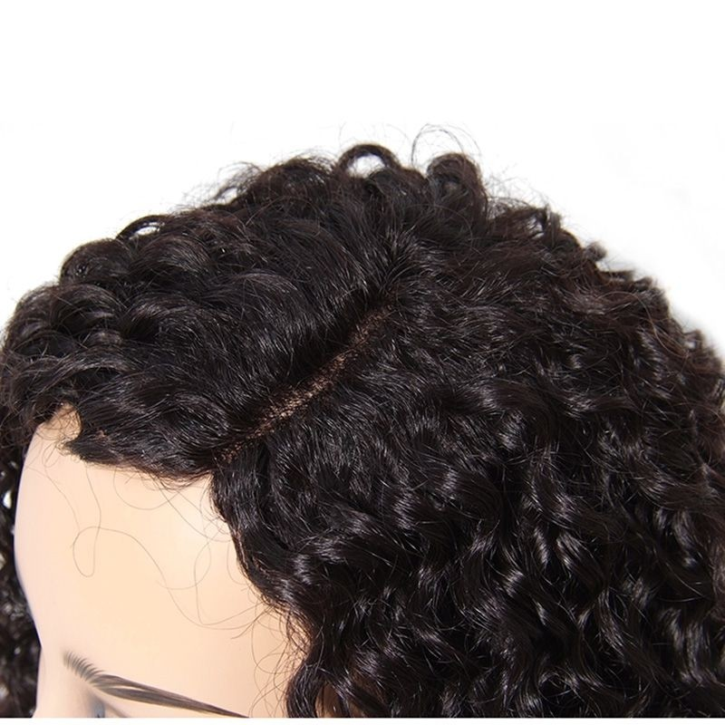 AfricanMall Unprocessed Curly Wave Brazilian Hair Front Lace Wig
