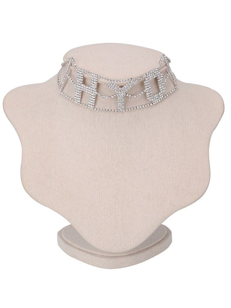 Diamante Letter Design Hollow Out Chocker