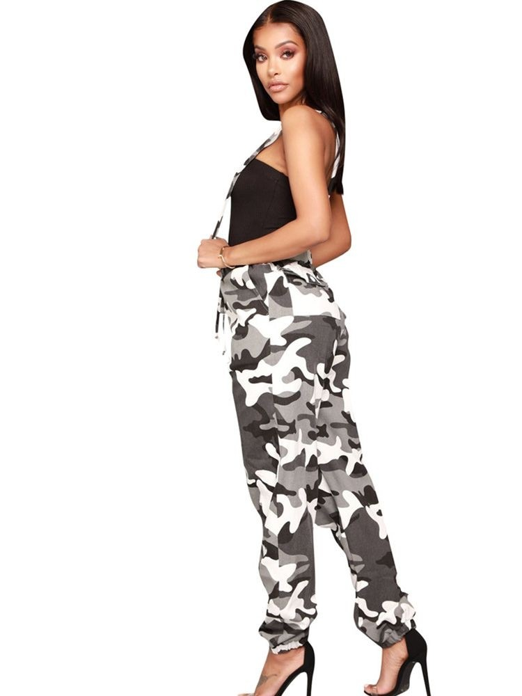 JurllyShe Adjustable Strap Bow-Knot Front Camo Pants Suspender