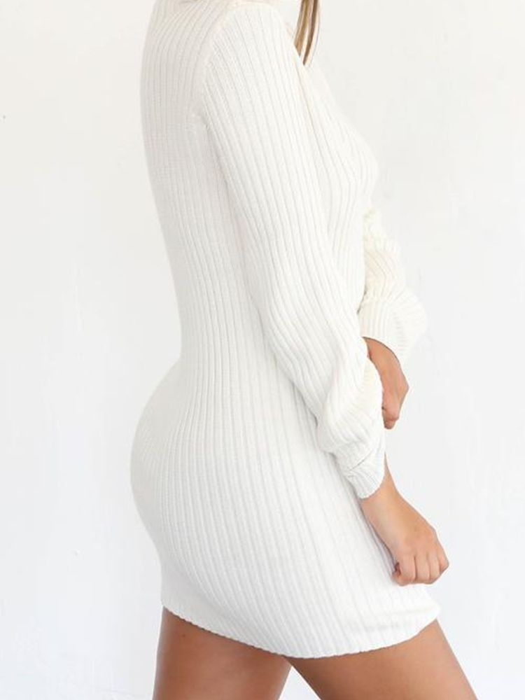 JurllyShe Basic Knitting  Long Seleeves Dress