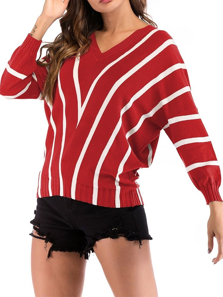 JurllyShe Batwing Sleeve Striped Knitting Jumper