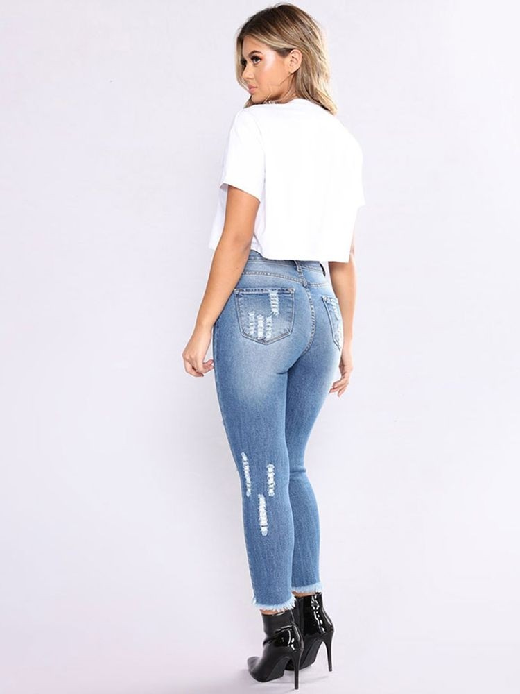 JurllyShe Bleach Wash Raw Hem Ripped Jeans