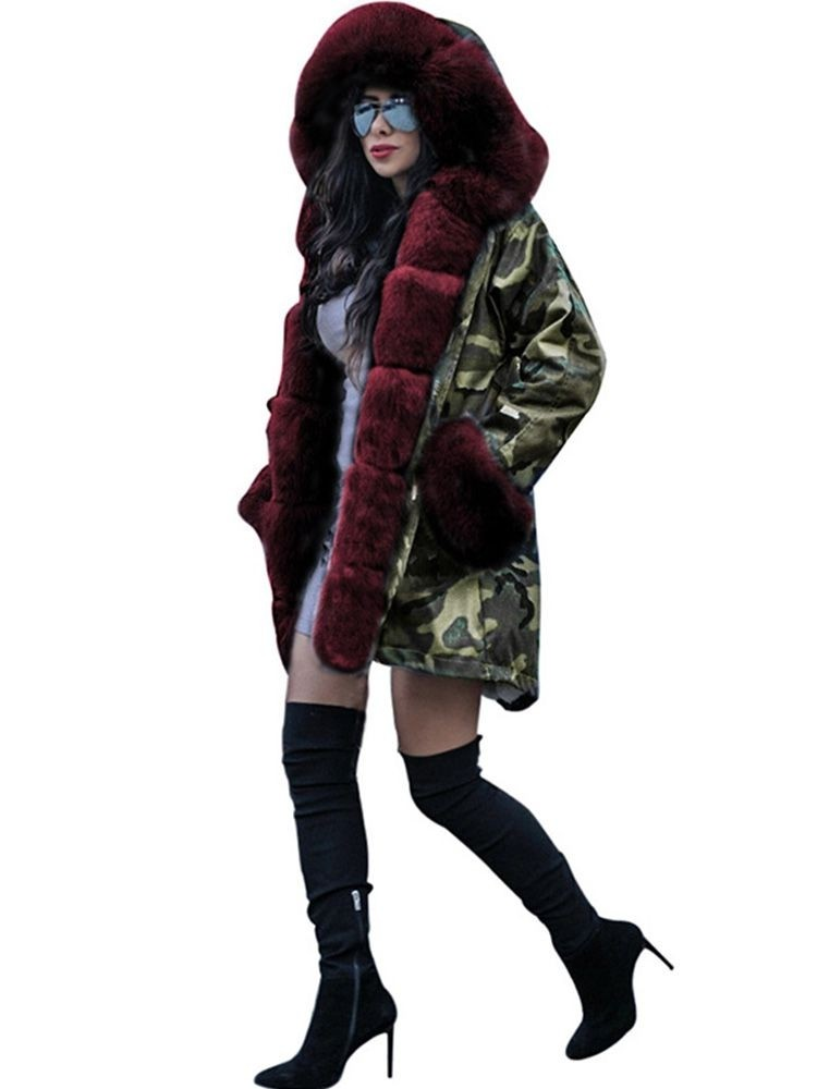 JurllyShe Camouflage Faux Fur Hooded Overcoat