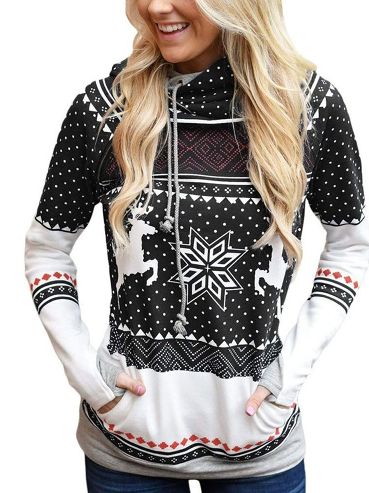 JurllyShe Christmas Fairisle Print Hooded Sweatshirt