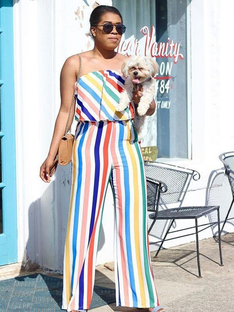 JurllyShe Colorful Stripe Ruffles Bardot Loose Jumpsuit