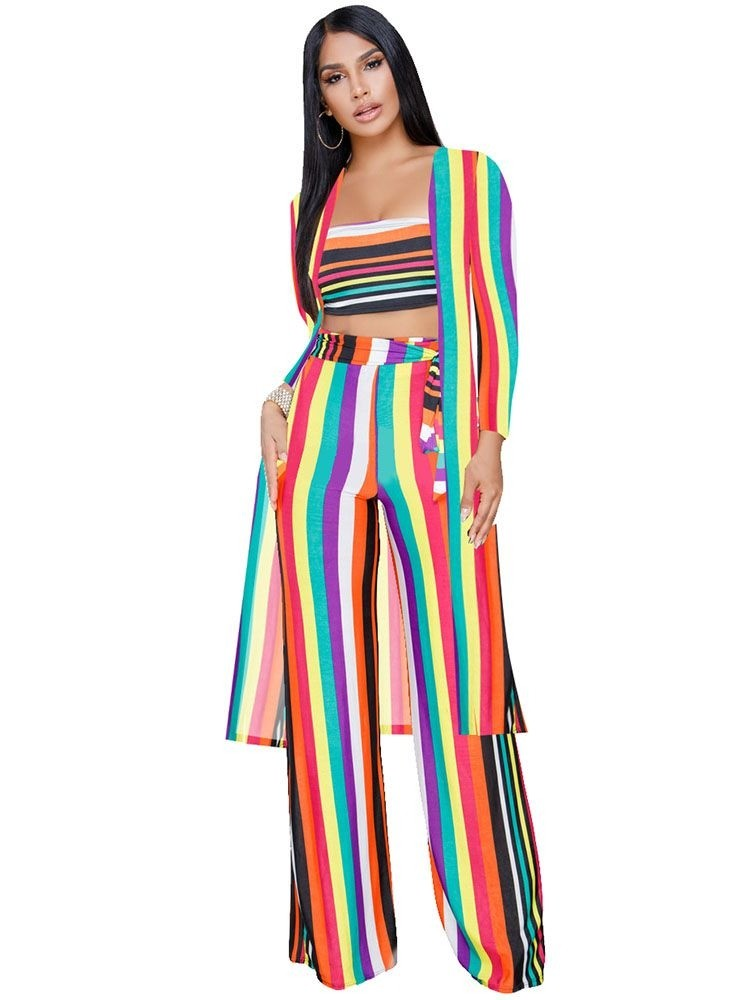 JurllyShe Colorful Striped Tube Top & Pants With Coat Set