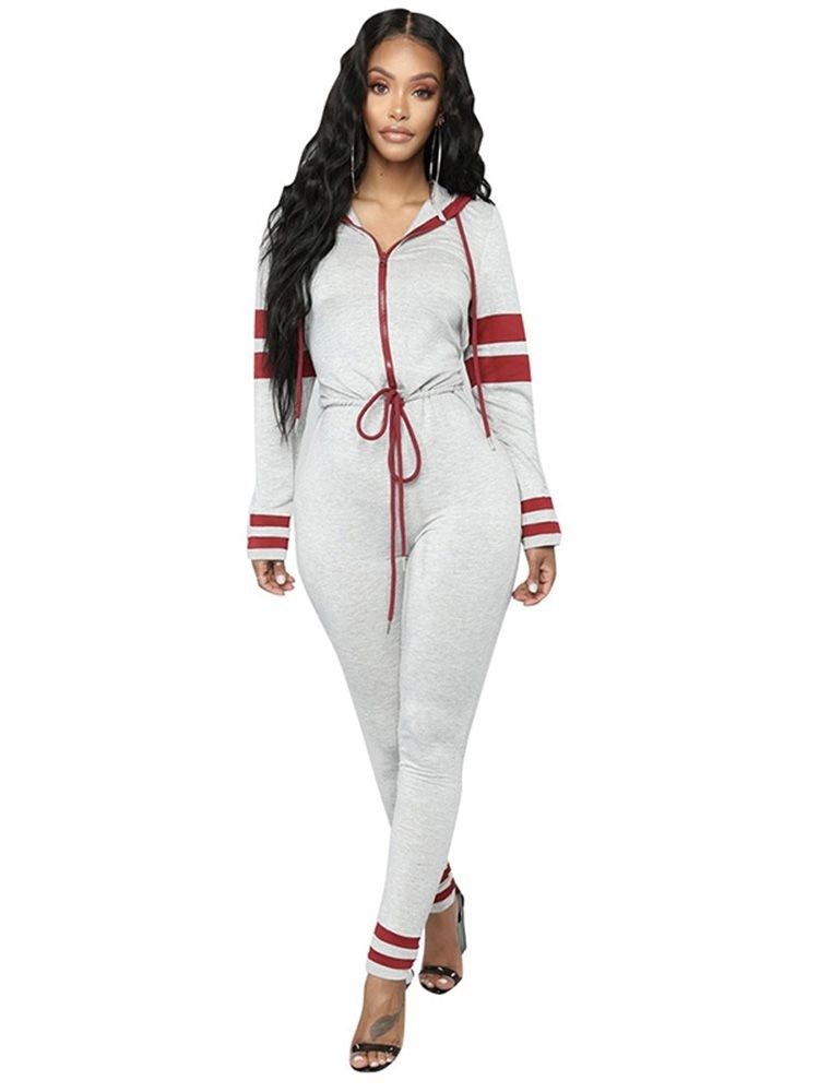 JurllyShe Contrast Color Zip Up Hoodie Jumpsuit