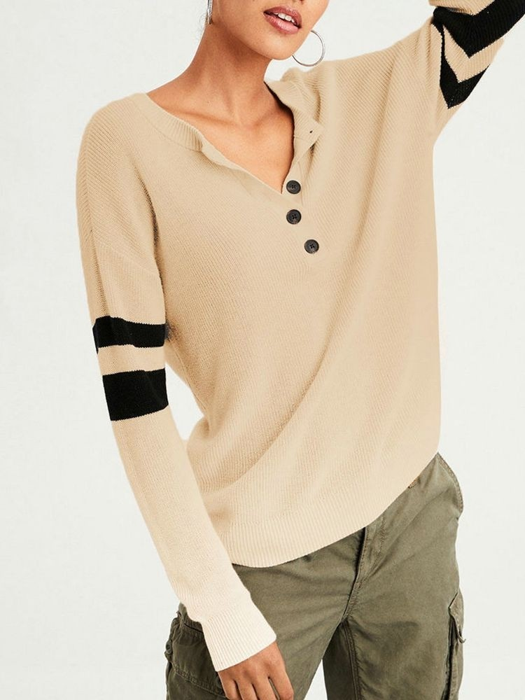 JurllyShe Contrast Sleeve Button Neck Knitting Top