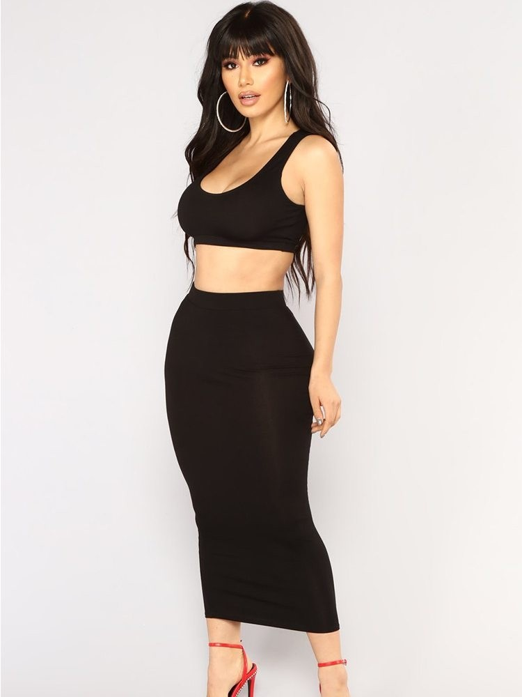 JurllyShe Crop Cami Top & Pencil Skirt Two Piece Outfits