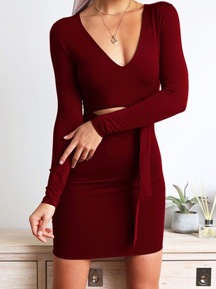 JurllyShe Cut Out Waist Self Belted Bodycon Dress