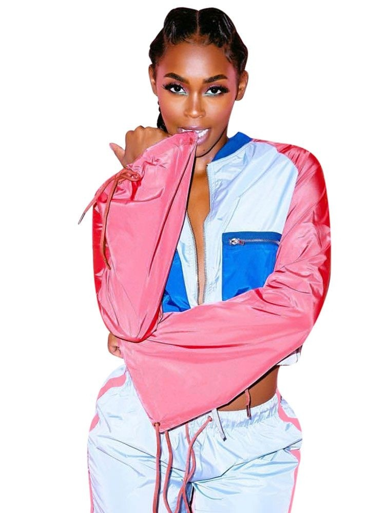 JurllyShe Drawstring Waist Color Block Crop Jacket And Shorts Two Piece Sets