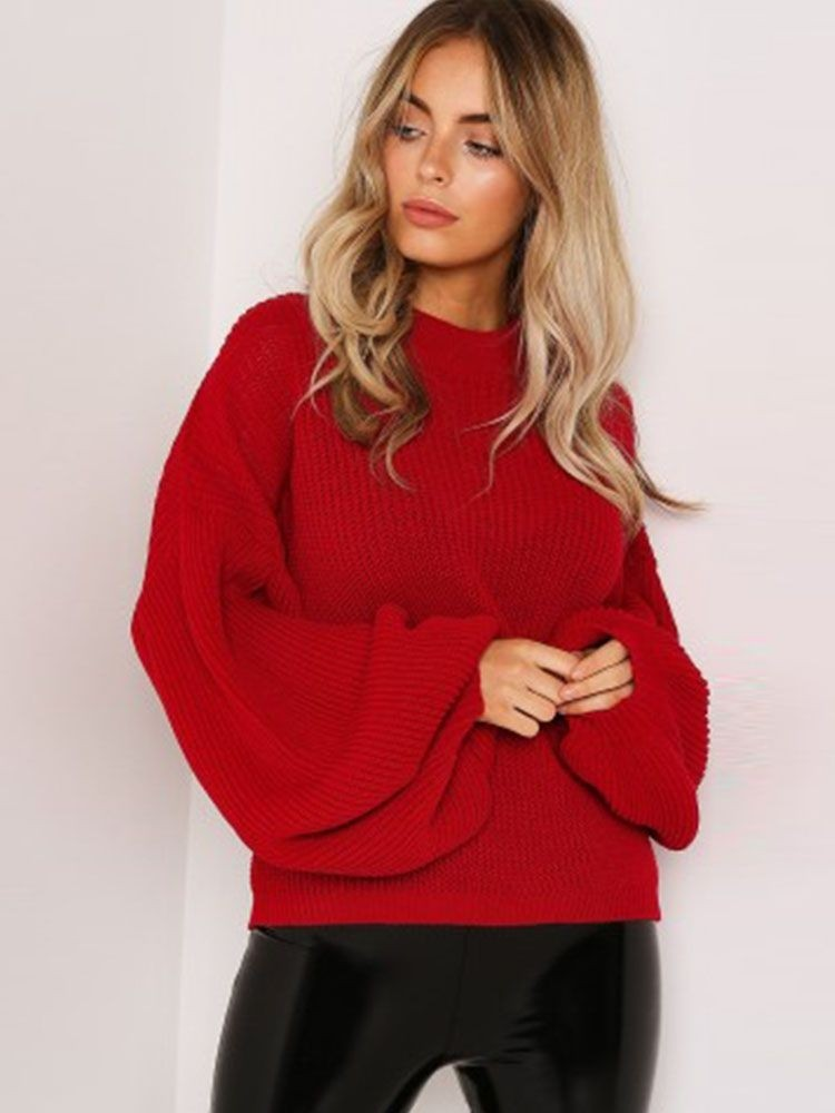 JurllyShe Drop Shoulder Bishop Sleeve Sweater