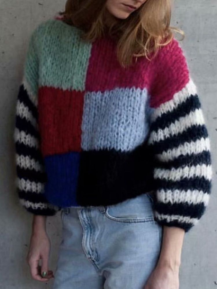 JurllyShe Drop Shoulder Color Block Sweater