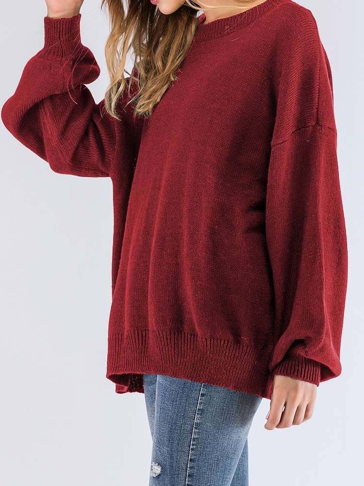 JurllyShe Drop Shoulder Lantern Sleeve Kint Jumper