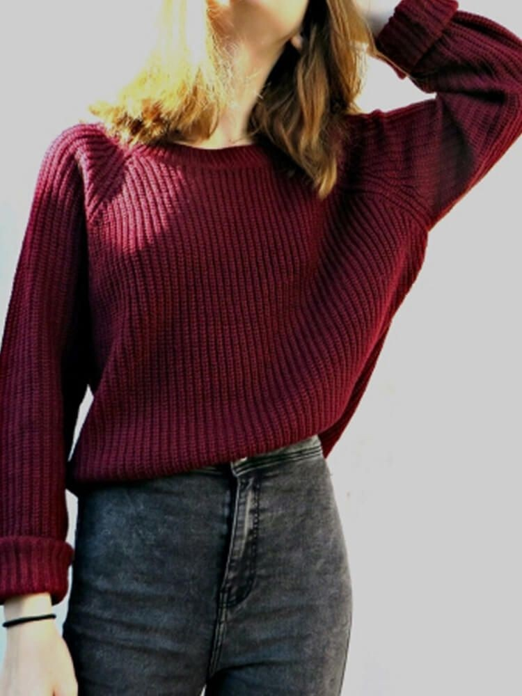 JurllyShe Drop Shoulder Round Neck Sweater