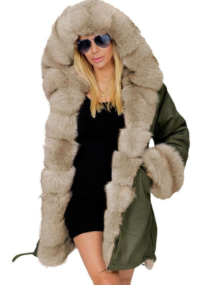 JurllyShe Faux Fur Cotton Long Hooded Coats