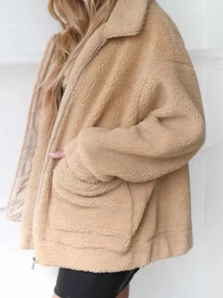 JurllyShe Faux Fur Drop Shoulder Coat