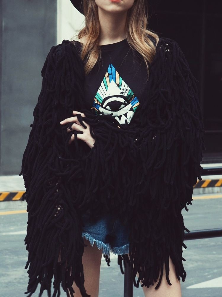 JurllyShe Faux Fur Tassel Knitting Coat