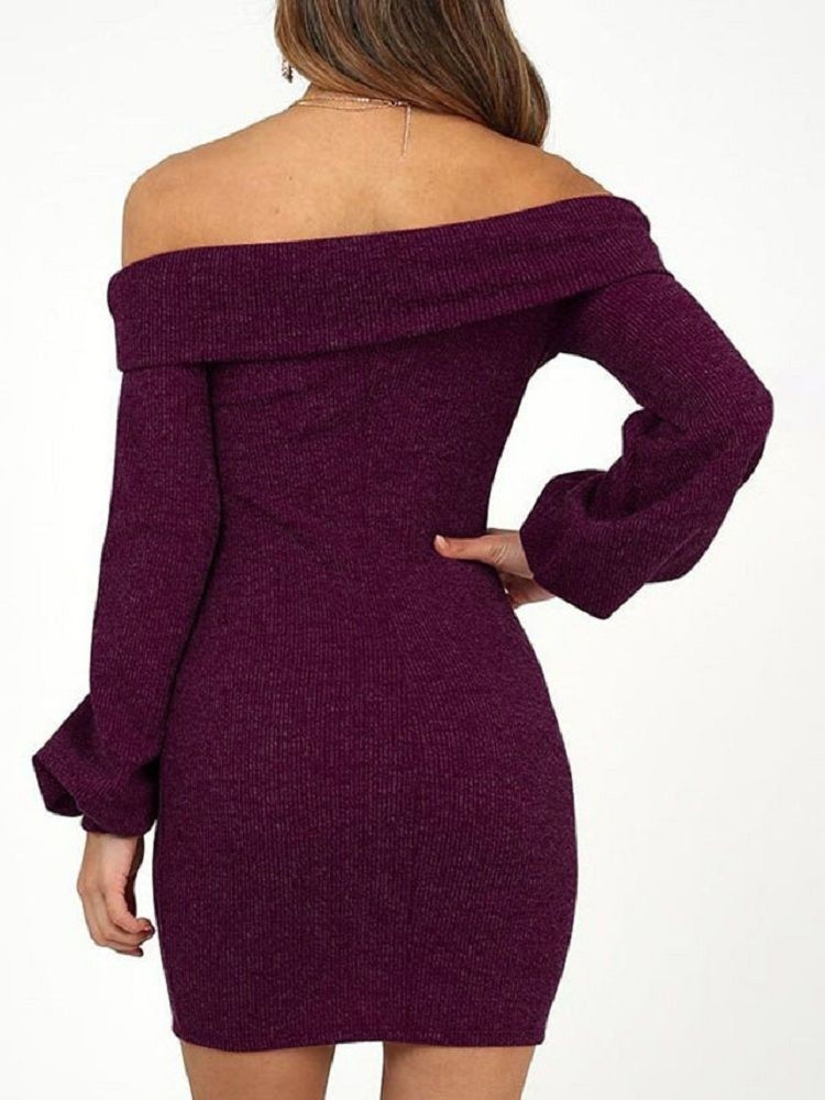 JurllyShe Fold Over Off Shoulder Rib Knitted Dress