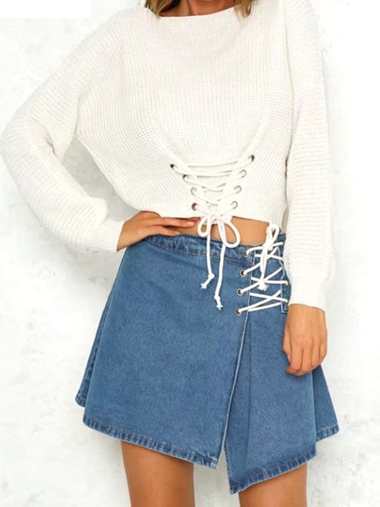 JurllyShe Front Lace Up Waist Sweater