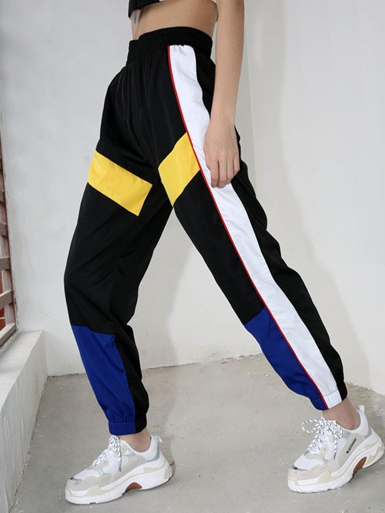 JurllyShe Contrast Color Spliced Ankle-Tied Pants