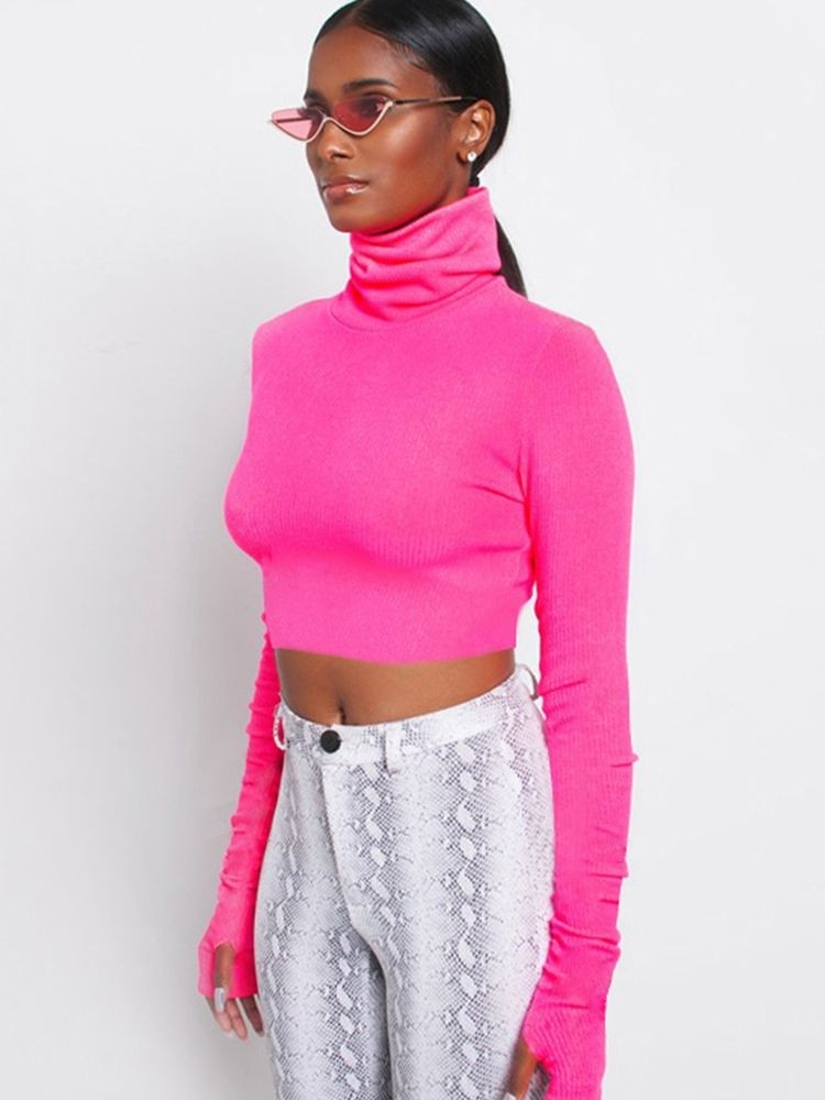 JurllyShe High Neck Slim Fit Crop Tee