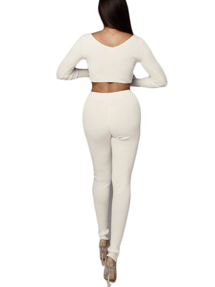 JurllyShe Knitted Drop Shoulder Crop Top With Pants Two Piece Sets
