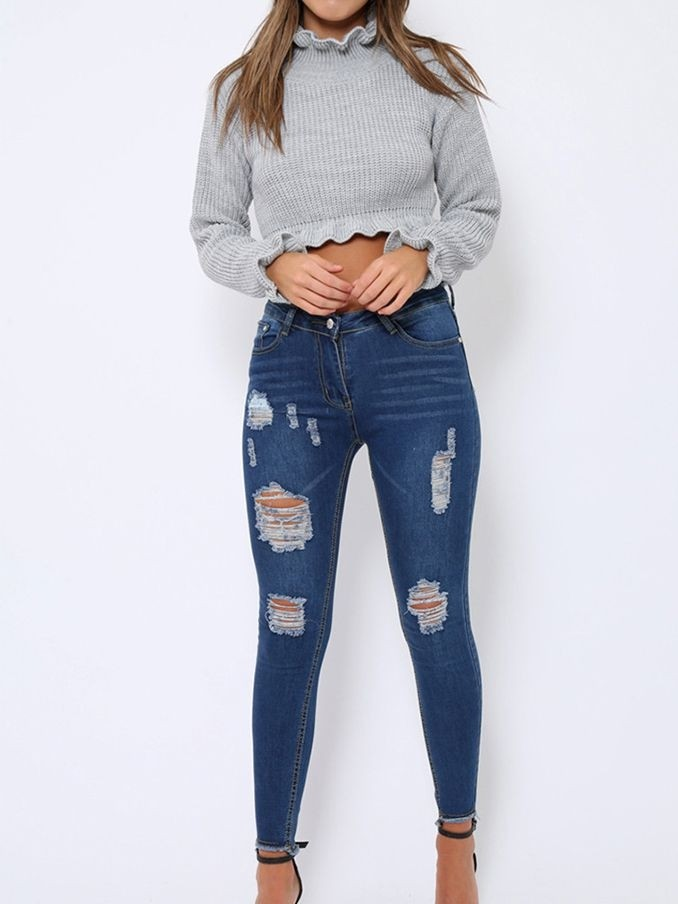 JurllyShe Knitted Ruffles Sleeve Stringy Selvedge Crop Top