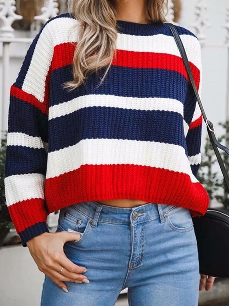 JurllyShe Knitting Colorful Striped Loose Sweater