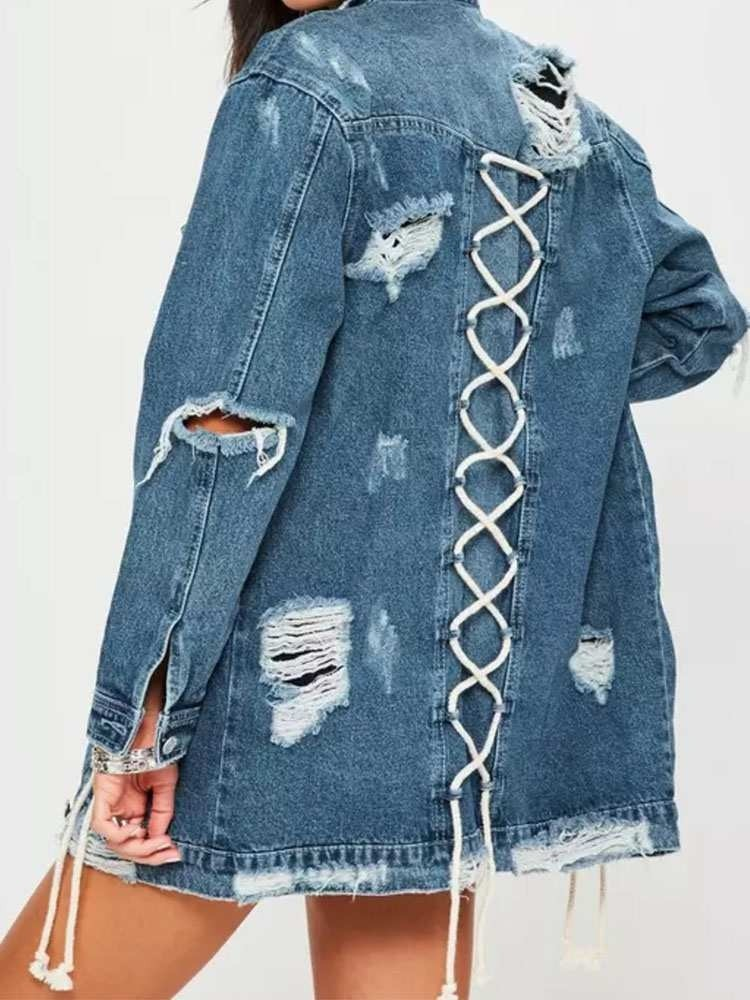 JurllyShe Lace Up Detail Ripped Denim Jacket