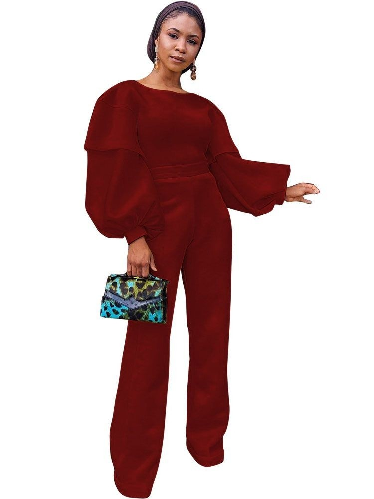 JurllyShe Lantern Sleeve Back Zipper Wide Leg Rompers Wide Leg Pants