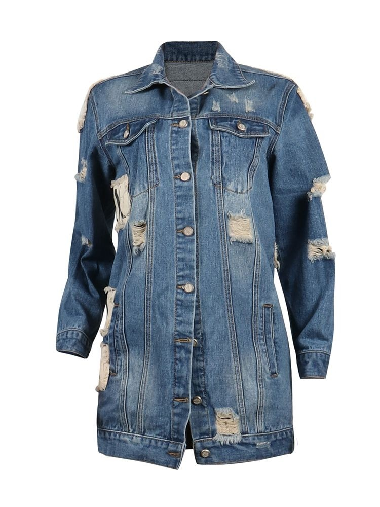JurllyShe Letter Print Back Distressed Bleach Wash Denim Jacket