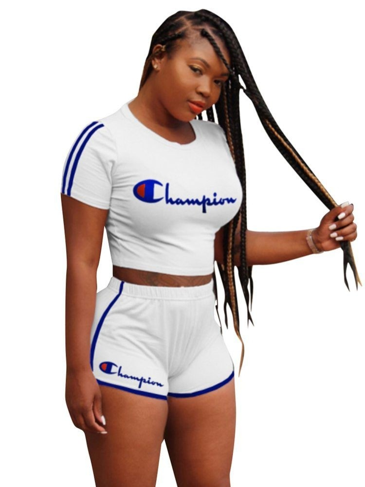 JurllyShe Champion Letter Print Crop Top With Side Stripe Shorts Two Piece Sets