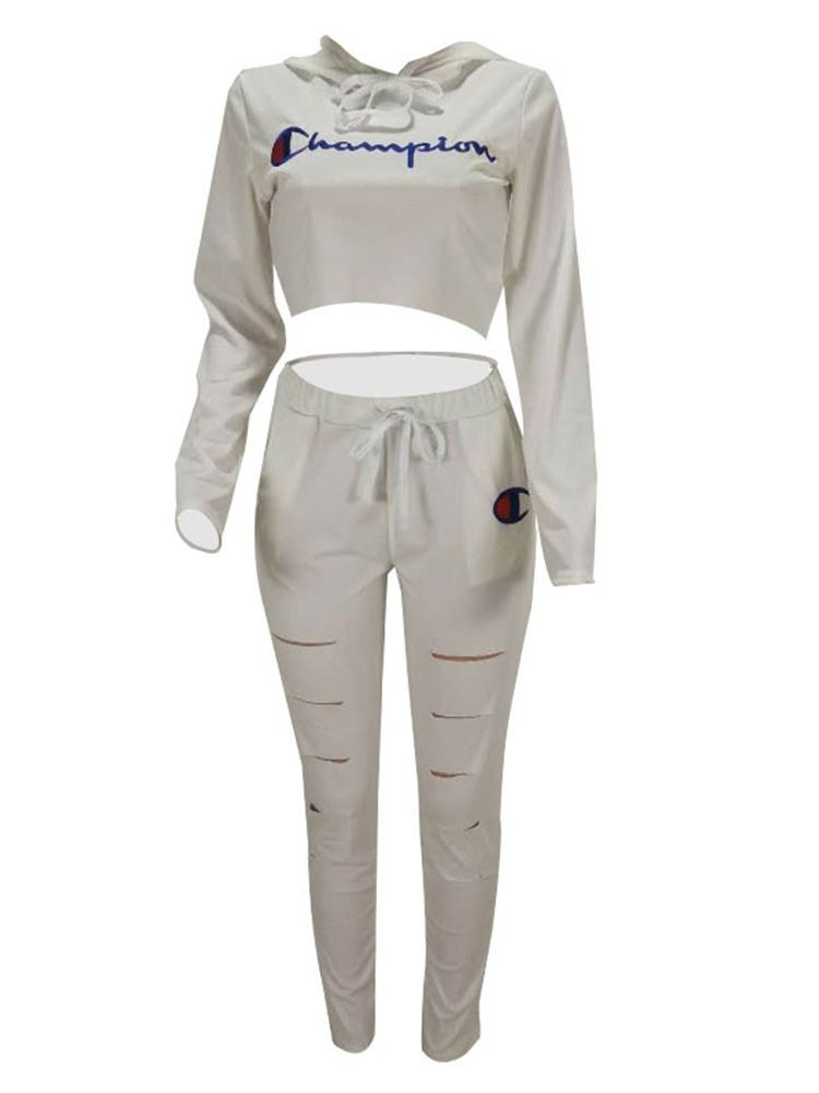 JurllyShe Champion Letter Print Long Sleeve Crop Top & Cut Out Pants Two Piece Sets