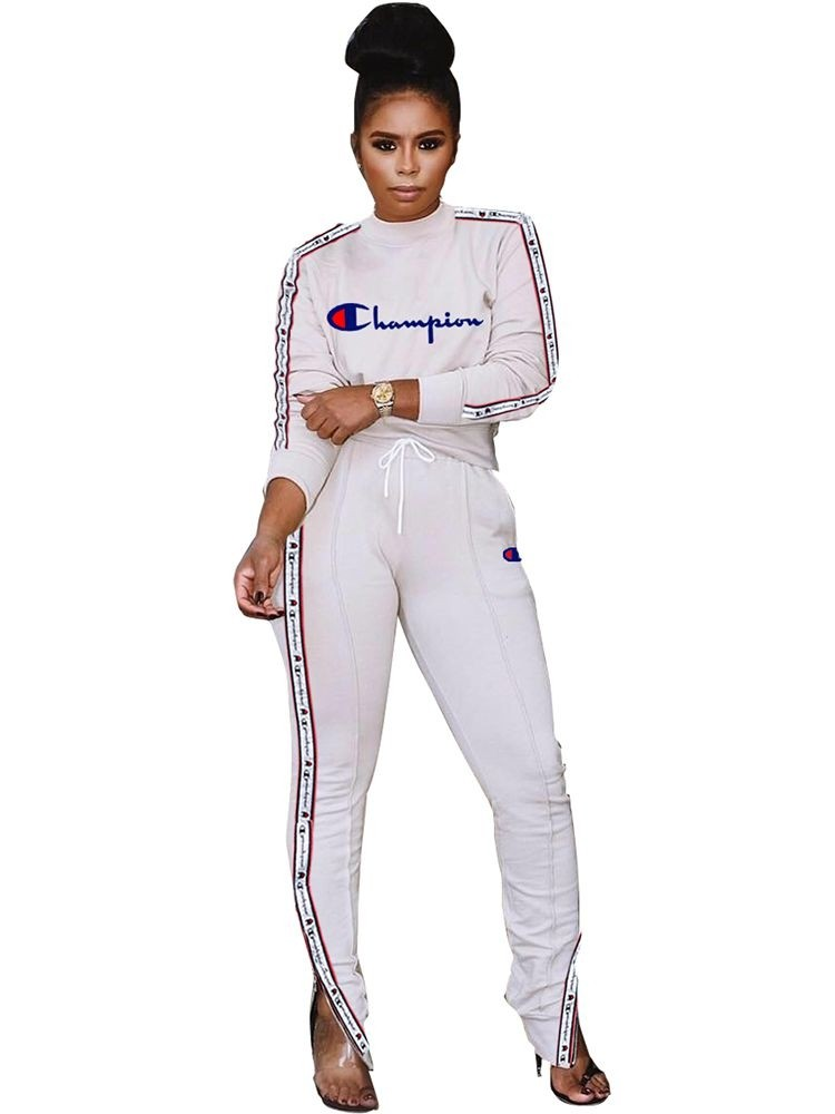 JurllyShe Letter Print Tape Side Crop Top And Drawstring Waist Pants Two Piece Sets