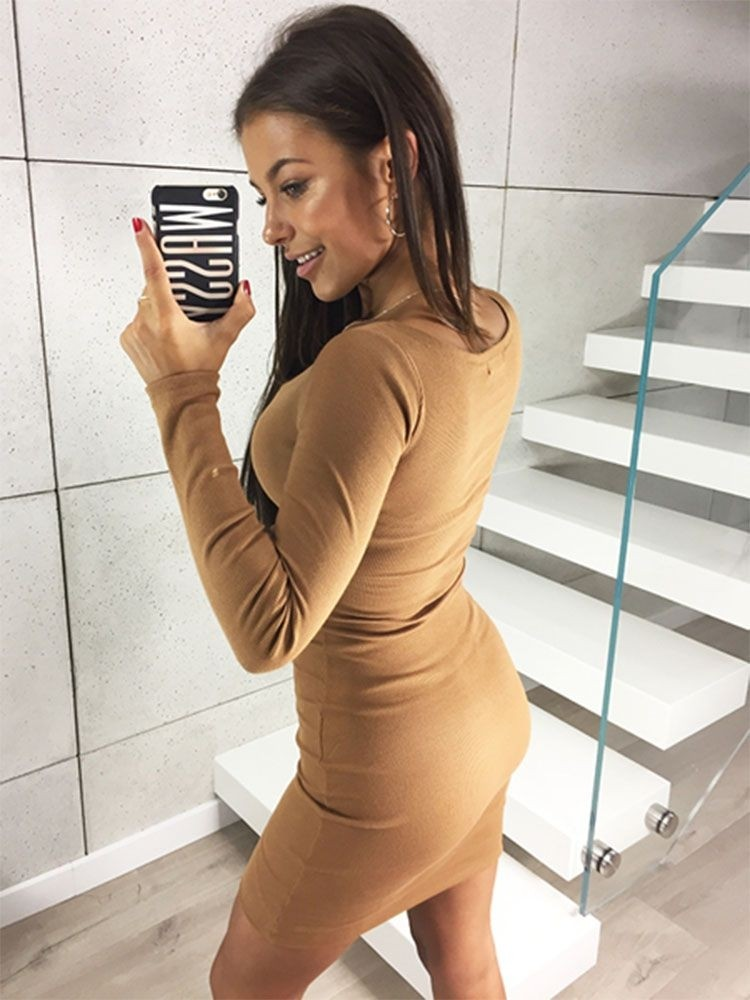 JurllyShe Low Cut Square Neck Stretch Long Sleeve Bodycon  Dress
