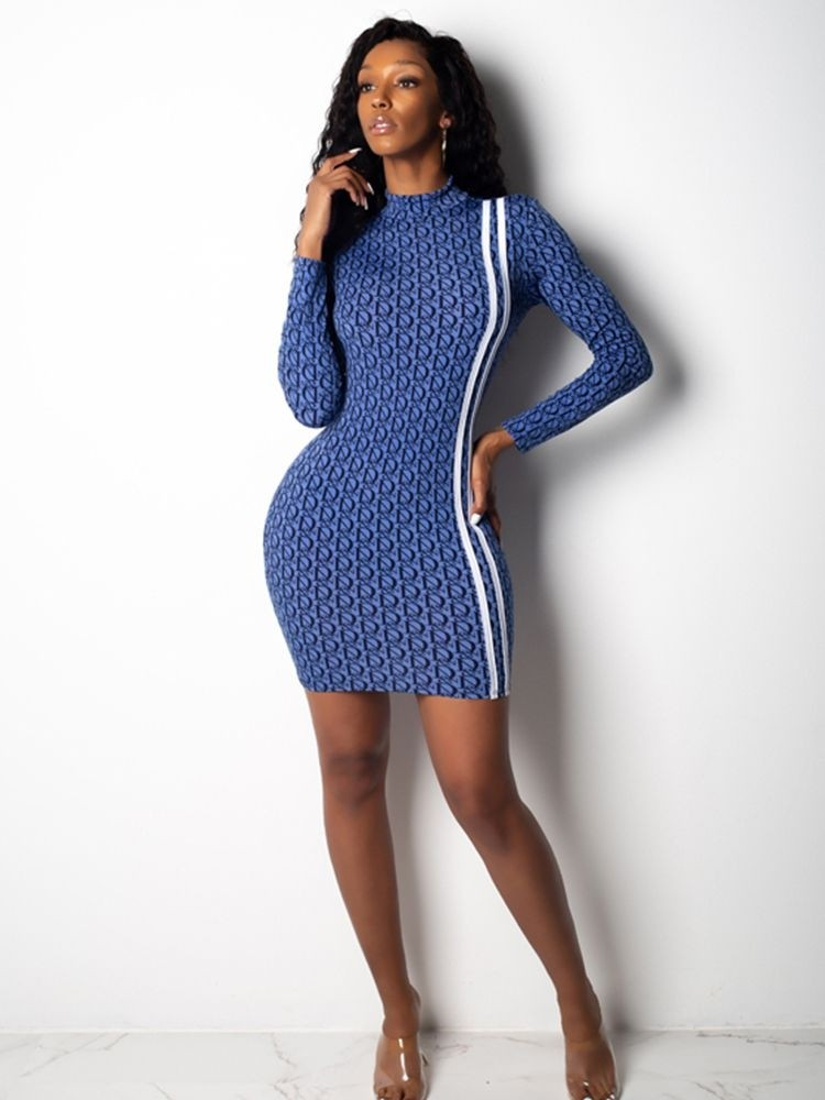 JurllyShe Mock Neck Printed Bodycon Dress