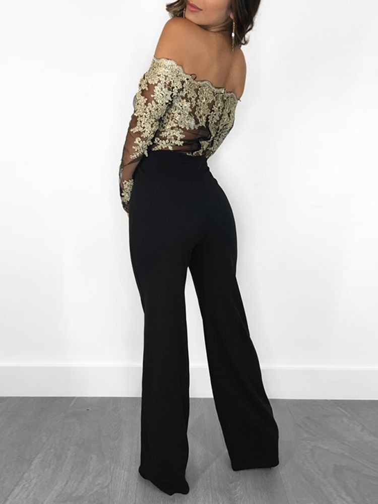 JurllyShe Off Shoulder Floral Embroidery Lace Patchwork Jumpsuit