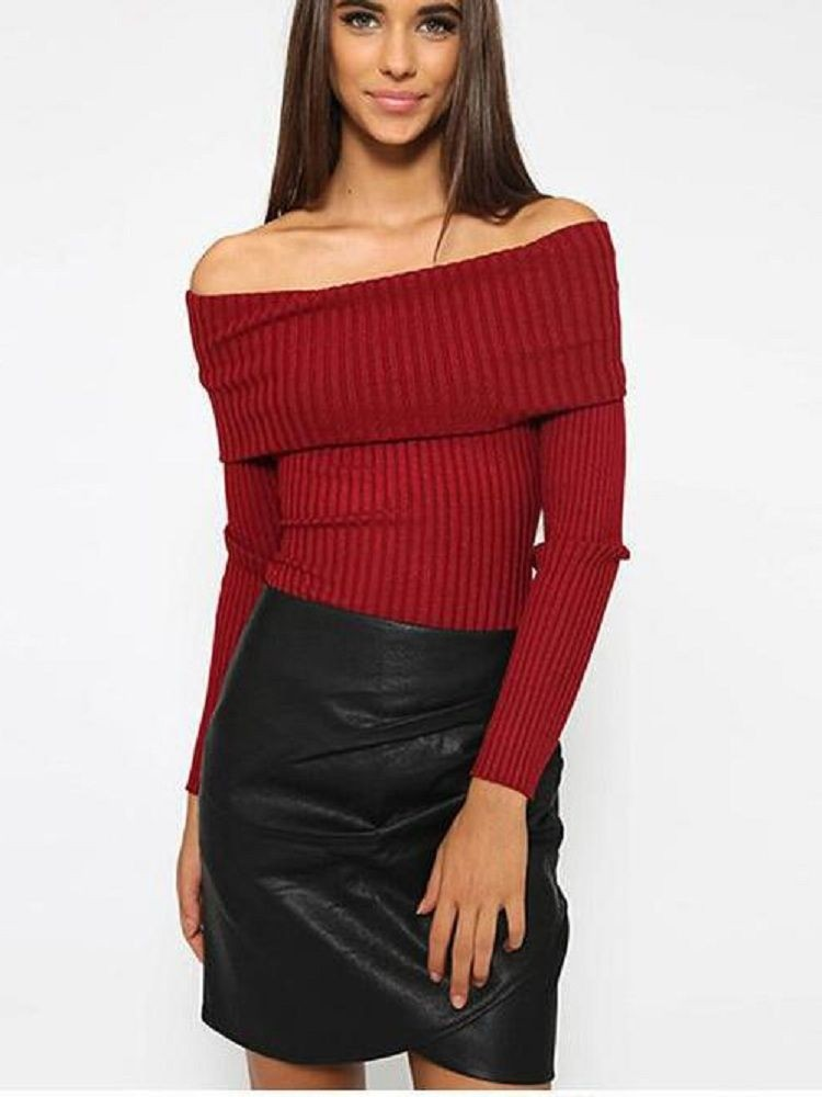 JurllyShe Off Shoulder Knitted Sweater