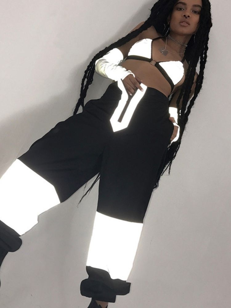 JurllyShe Patchwork Reflective Zipper Up Pants